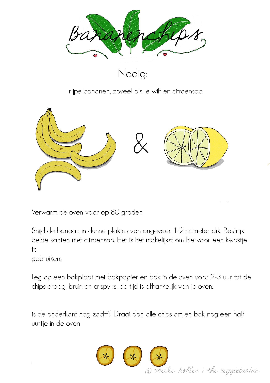 Rijpe bananen, zoveel als je wilt en  citroensap. Verwarm de oven voor op 80 graden. Snijd de banaan in dunne plakjes van 1-2 milimeter dik. Bestrijk beide kanten met citroensap.